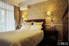 简约中式卧室壁纸装修效果图大全2013图片