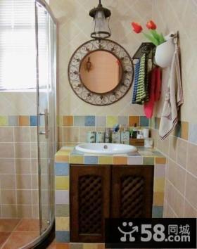 美式乡村三居室地中海风格卫生间装修效果图大全2014图片