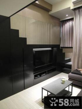 现代楼梯电视背景墙设计装修