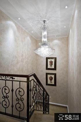 欧式家居楼梯间水晶灯饰效果图