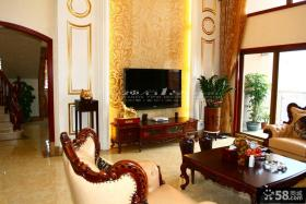 美式别墅客厅壁纸电视背景墙装修效果图