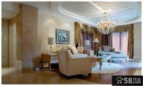 现代欧式风格客厅吊顶图片欣赏