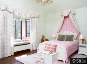 女孩卧室飘窗窗帘设计效果图