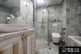 现代美式卫生间瓷砖色彩设计图片