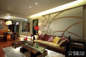 90平米小户型中式内敛的客厅装修效果图大全2014图片
