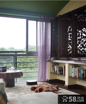 东南亚风格阳台紫色窗帘效果图