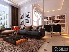现代时尚三居室客厅装修吊顶效果图大全2014图片