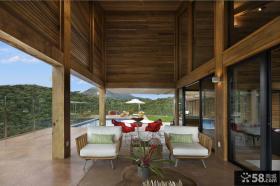 现代复式开放式阳台设计效果图