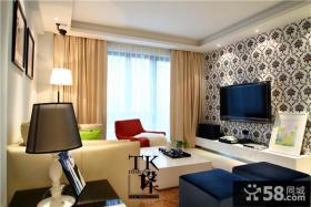 整体客厅壁纸电视背景墙装修效果图