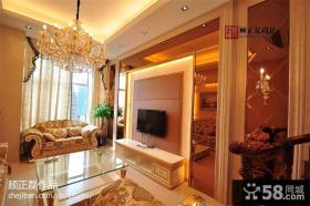 180平米欧式复式楼客厅电视背景墙效果图