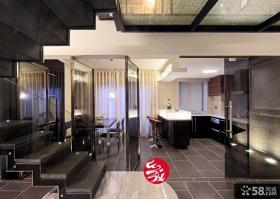 现代复式楼开放式厨房餐厅装修效果图