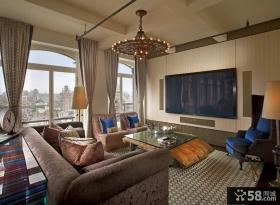 美式风格客厅电视背景墙装修效果图 客厅吊顶装修