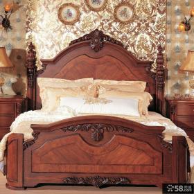 美式乡村风格实木床图片