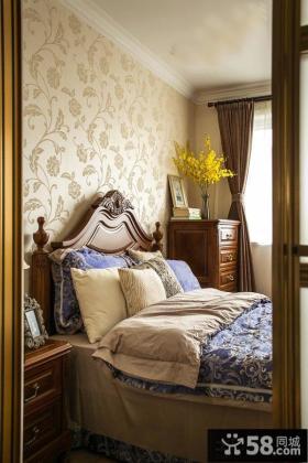 美式卧室床头墙面液体壁纸效果图