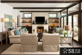 简约清新的美式风格客厅装修效果图大全2014图片