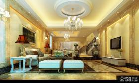 顶级别墅客厅装修效果图 客厅圆形吊顶效果图