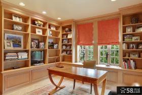 美式乡村风格书房书桌书柜图片