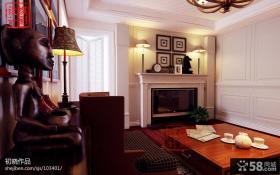 美式风格客厅壁炉电视背景墙装修效果图大全