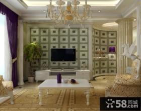 欧式风格电视背景墙造型装修效果图大全2013图片