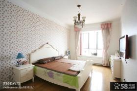 田园风格卧室壁纸装修效果图欣赏