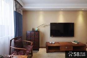 中式风格简易客厅背景墙装修图片