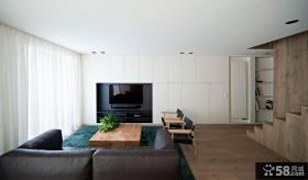 现代复式小客厅电视背景墙大全
