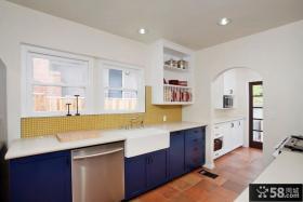 简欧风格厨房蓝色橱柜装修效果图