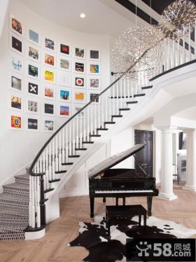 简约时尚楼梯间相片墙图片大全