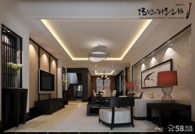 挑高复式客厅设计 中式风格电视背景墙装修效果图