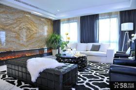 现代新古典风格客厅背景墙效果图大全
