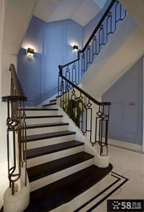 地中海风格别墅铁艺楼梯装修效果图