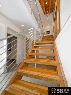 别墅实木楼梯踏步板图片