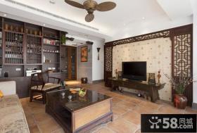 中式风格客厅电视背景墙装修效果图欣赏大全