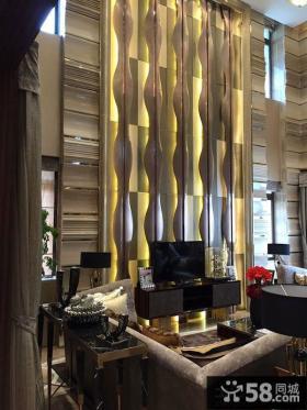 现代豪华时尚客厅电视背景墙效果图