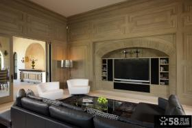 美式乡村风格客厅电视背景墙装修效果图