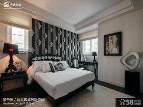 卧室黑白床头背景墙效果图