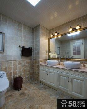 美式风格古典装修卫生间效果图