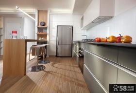 半开放式厨房不锈钢橱柜图片