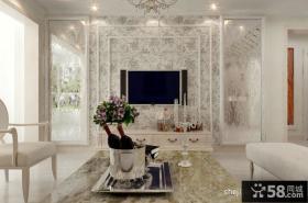 客厅电视背景墙碎花壁纸装修效果图