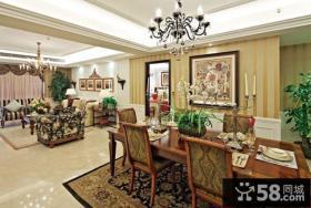 现代美式风格客厅餐厅吊顶灯挂画背景墙