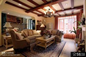 现代美式风格小户型客厅木龙骨吊顶装修效果图
