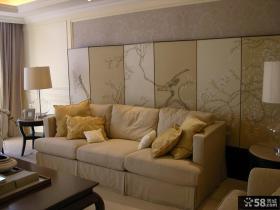 客厅沙发彩绘屏风背景墙装修效果图