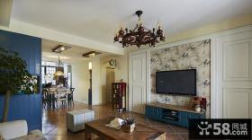 美式乡村风格客厅电视背景墙壁纸效果图