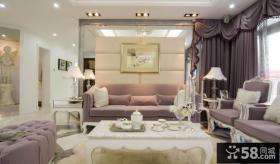 法式家居风格客厅沙发背景墙装饰画图片