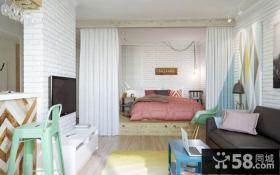 超小户型客厅卧室隔断帘效果图