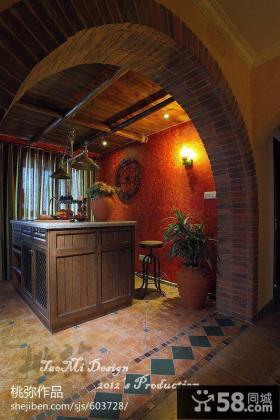 美式乡村厨房吧台装修效果图欣赏