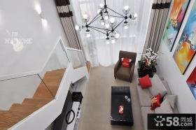 简约时尚复式楼客厅装修效果图