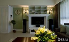 乡村田园风格室内客厅电视背景墙效果图