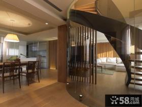 美式实木风格楼梯装修效果图