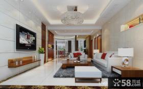 中式客厅电视背景墙装饰效果图